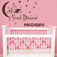 Wall Decal Name Teddy Bear Moon and Stars Sweet Dreams Vinyl Sticker Personalized Custom Name Boys Wall Decals Girl Nursery Baby Decor AN675