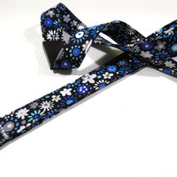"Breakaway Badge Lanyard - Sapphire Blue Floral with Crystals - 3/4"" wide x 18"" drop"