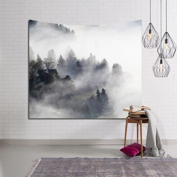 New 150x130cm Hanging Wall Tapestry Polyester Fog Mountain Natural Scenery Printing Towel Tablecloth Tapestry Fabrics Home Decor
