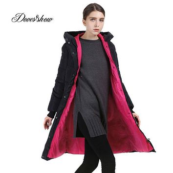 Long Women Winter Jacket Fashion Padded Coat Hooded Overcoat Plus Size Parka Wadded Military Casaco Feminino Female Jacket QYX02