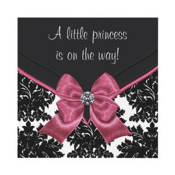 Black Damask Pink Bow Princess Baby Shower Invitations from Zazzle.com