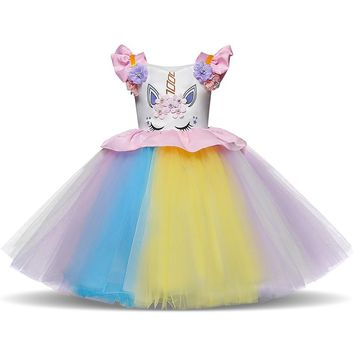 Baby Girl Birthday Unicorn Dress Infant Girls Christening Clothes Kids Colorful Tutu Gown Girls Carnival Christmas Party Costume
