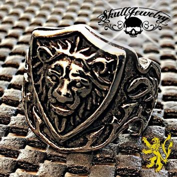 Medieval 'Lion Crest' Stainless Steel Lion Ring (c056)