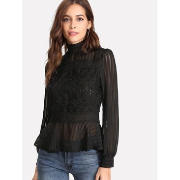 Lace Panel See Through Peplum Blouse Black