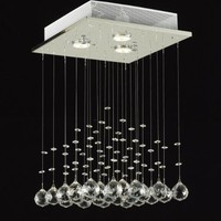 JAC D'LIGHTS J10-C9071S-3us Modern Rain Drop Lighting Crystal Ball Fixture Pendant Chandelier, 18 by 12-Inch