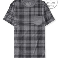Aeropostale  Mens Brooklyn Calling Plaid Pocket T-Shirt