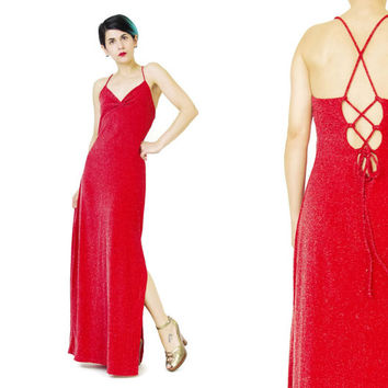 90s Bodycon Evening Gown Red Prom Dress Lace Up Back Dress Strappy Sexy Disco Dress Metallic Sparkly Maxi Dress Stretchy Evening Dress (M/L)