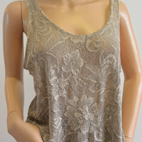 Vintage Loose Fitting Floral Lace Knit Tank Medium by Cinema Etoile