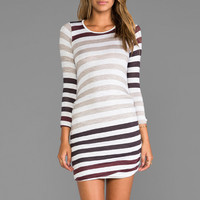 dolan Long Sleeve Drape Hem Mini in Sidewalk Stripe Jersey
