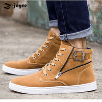 Hot Men Shoes Fashion Autumn Winter Men Cowboy Boots Autumn Leather Footwear for Man New High Top Casual Shoes Brown Black