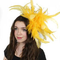Yellow Fascinator  Hat for Weddings, Occasions and Parties