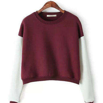 Contrast Color Long Sleeve Sweater