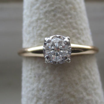 Vintage  Orange Blossom VS Diamond Solitaire Engagement Promise Ring 14k Solid Gold Art Deco