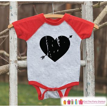 Kids Valentines Outfit - Black Heart Valentine's Day Shirt or Onepiece - Boy or Girl Valentine Shirt - Baby, Toddler, Youth - Red Raglan