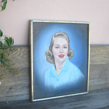 Midcentury, Mad-Men Era Portrait of Dreamy Blonde Woman in Blue Blouse - Blue-Hued Portrait of Midcentury Woman; Mad Men Decor