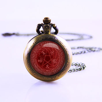 Alucard's Pentagram Necklace,Antique and Vintage style Filigree Helling inspired Alucard's Pentagram glass cabochon dome
