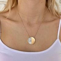 Marble Moon Necklace in Gold