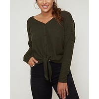 Solid Rib Self Front Tie Thermal Top With Twisted Open Back - Dark Olive