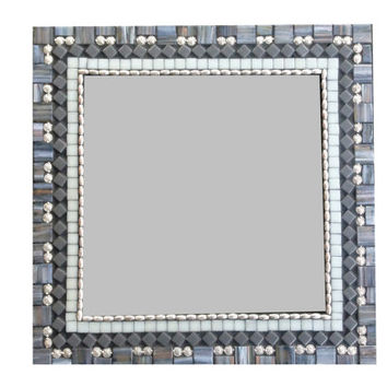 Modern Geometric Wall Mirror // Gray and Silver // Square Wall Art
