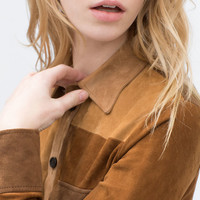 Leather patchwork shirt