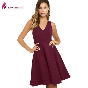 Berydress Women Dress V Neck Summer Dresses Burgundy Casual Female Clothing Midi Party Dresses Black Cocktails Vestidos 2018