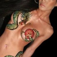 Dragon Body Temporary BODY ART Asian Dragon Tattoo Xotic Eyes