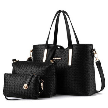 New Fashion PU Leather Bag Design Women Handbag , Messenger Bag ,Purse 3PCS Set [8072730951]