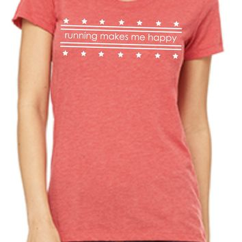 Running Makes Me Happy Graphic Tee - Red