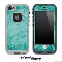Crumpled Aqua Blue Paper Skin for the iPhone 5 or 4/4s LifeProof Case