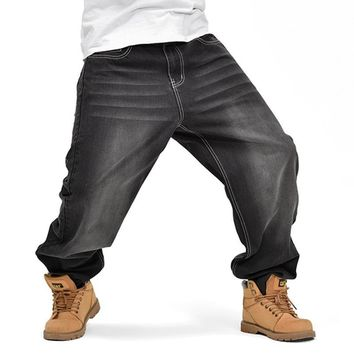 Men's Baggy Loose Fit Plus Size Denim Jeans by Lance Donovan