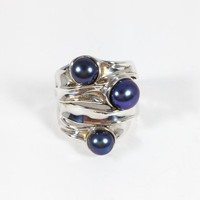 Sterling Silver Three Pearl Ring Signed 925 HG Israel Blue Cultured Pearls Vintage 1990s Size 5 1/2 Modernist Israeli Silver Jewelry