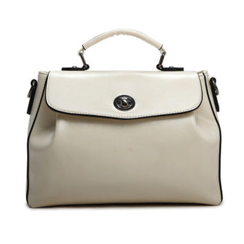 Retro Style Offwhite Faux Leather Tote. Synthetic Leather Handbag. Ladies Satchel