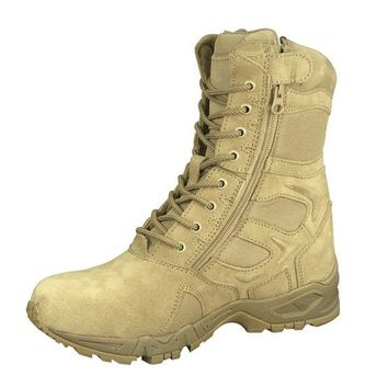 "Forced Entry Desert Tan 8"" Deployment Boots with Side Zipper"