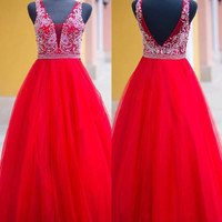 Sexy Backless V Neck A Line Prom Dresses 2017 Hot Sale Red Crystal Beading Floor Length Evening Gown For Wedding Plus Size