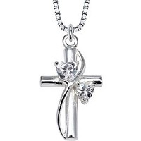 Cubic Zirconia Cross Pendant Sterling