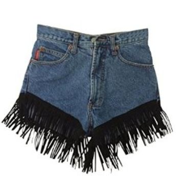 Women's High Waisted Vintage Wrangler's Blue Denim Black Summer Short