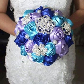 DCCKIX3 purple blue handmade Wedding bouquet flower silk pearl diamond Bride Hands Holding Rose Flower Wedding Bridal Bridesmaid Flower = 1929784900