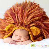 Crochet Lion Hat - Newborn Photo Prop - Girl Or Boy - Size NEWBORN