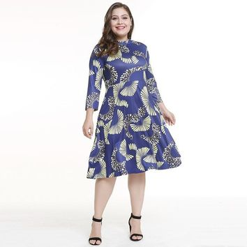 OULYLAN Women Dress Plus Size 5XL O Neck Print Flower Straight Casual Knee Length Oversized Dress Big Dresses