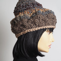 taupe chunky knit hat / tall knit hat /  brown gold gray crochet hat / handmade light brown hat / teen girl hat / womans winter hat / OOAK