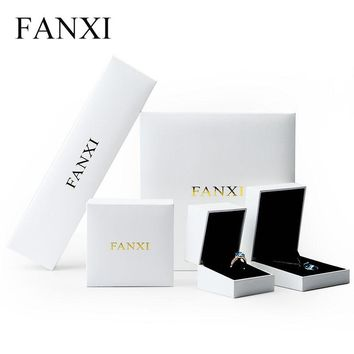 FANXI New Product White Plastic Jewelry Box for Wedding Proposal Party Gift Boxes Leatherette Paper Jewellery Packing Case
