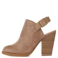 Taupe Slingback Chunky Heel Booties by Charlotte Russe