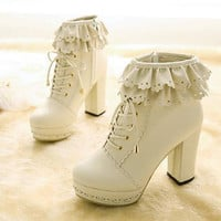 Sweet Cute Lace Zipper Lace Up Chunky Heel Martin Boots