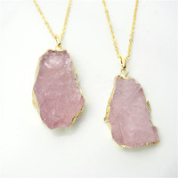 Raw Rose Quartz Cluster Necklace in Gold by Black Bones Jewellery