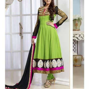 Parrot Green Embroidered Georgette Anarkali Suit
