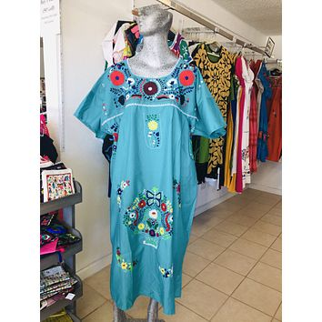 Mexican Handmade Traditional Dress Teal/Plus Size