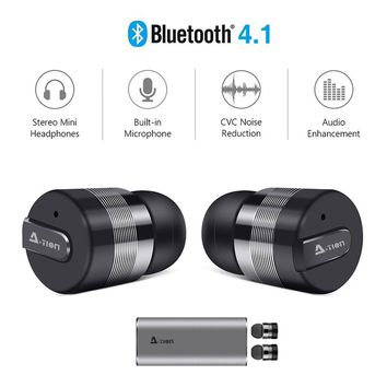 True Wireless Earbuds w/Portable Charger. A-TION®  Bluetooth Headphones Smallest Cordless Hands-free Mini Earphones Headset w/ M