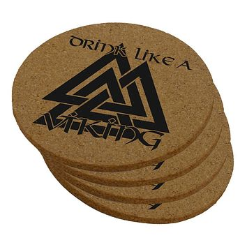 Drink Like A Viking Valknut Symbol Of Odin Round Cork Coaster (Set of 4)