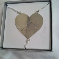 "Custom Envraged Sterling Silver Best Friends Puzzle Heart Necklace ""A Piece Of My Heart"" - Sterling - Bridesmaids"