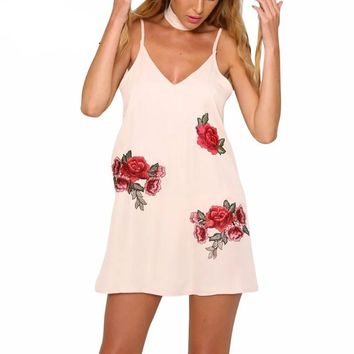 Pink Flower Embroidery Woman Dress